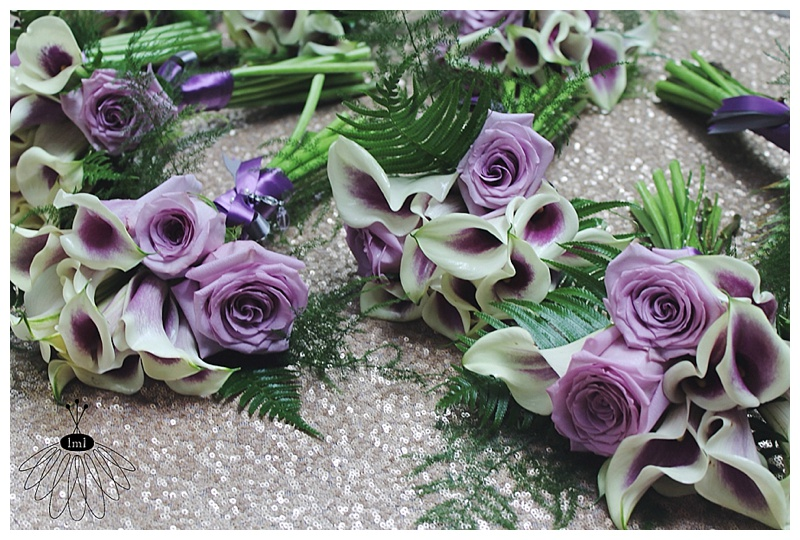 little miss lovely // berlin md wedding florist // purple rose and picasso calla lily bouquets