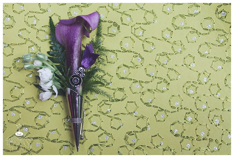 little miss lovely // berlin md wedding florist // purple calla lily and silver boutonniere