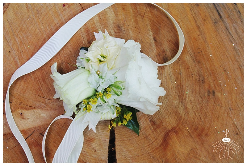 little miss lovely // wedding florist ocean city md // lisianthus wrist corsage