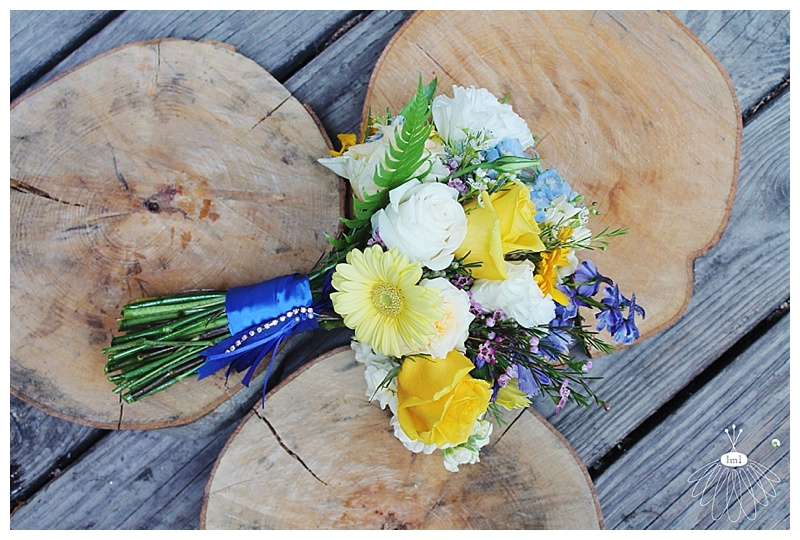 little miss lovely // wedding florist // eastern shore md // royal blue and yellow bouquet