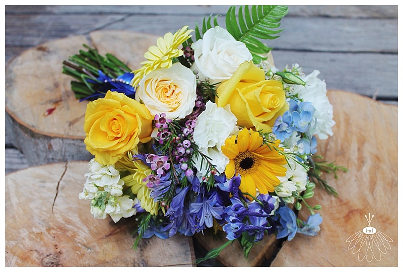little miss lovely // wedding florist // eastern shore md // blue and yellow bouquet