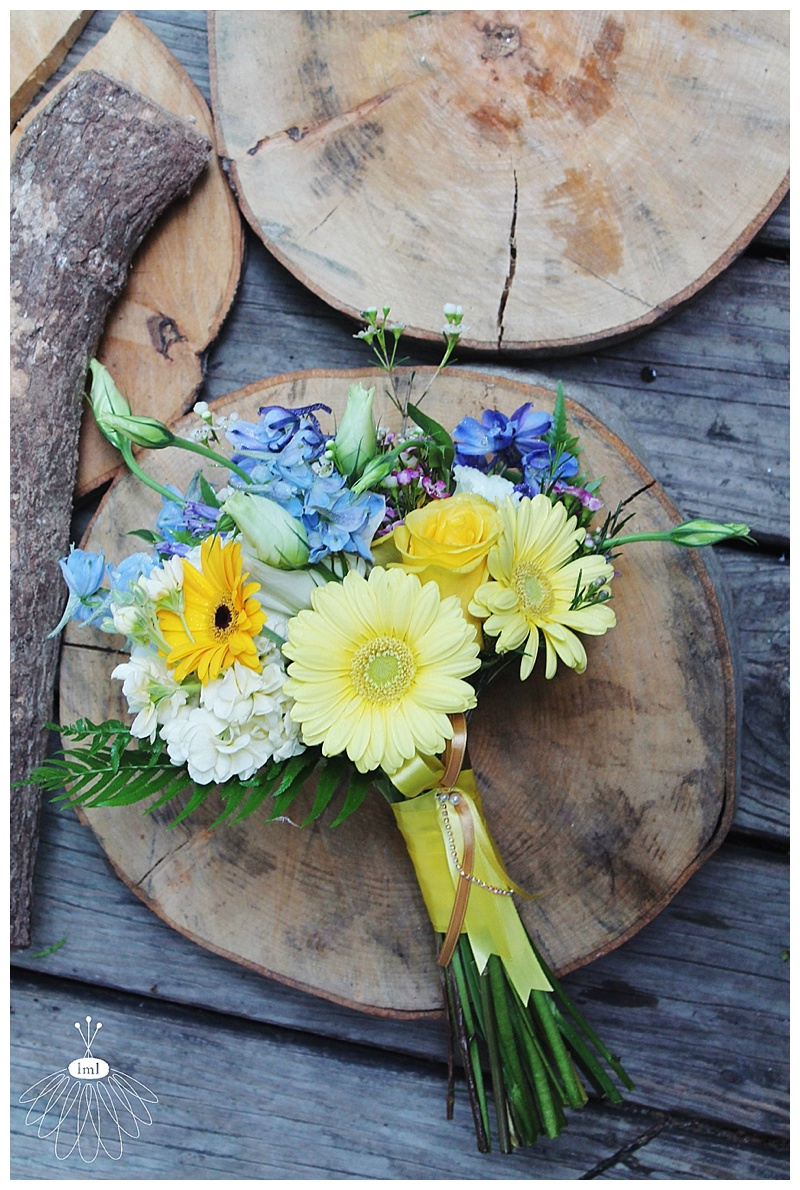 little miss lovely // wedding florist // eastern shore md // royal blue and yellow bouquets
