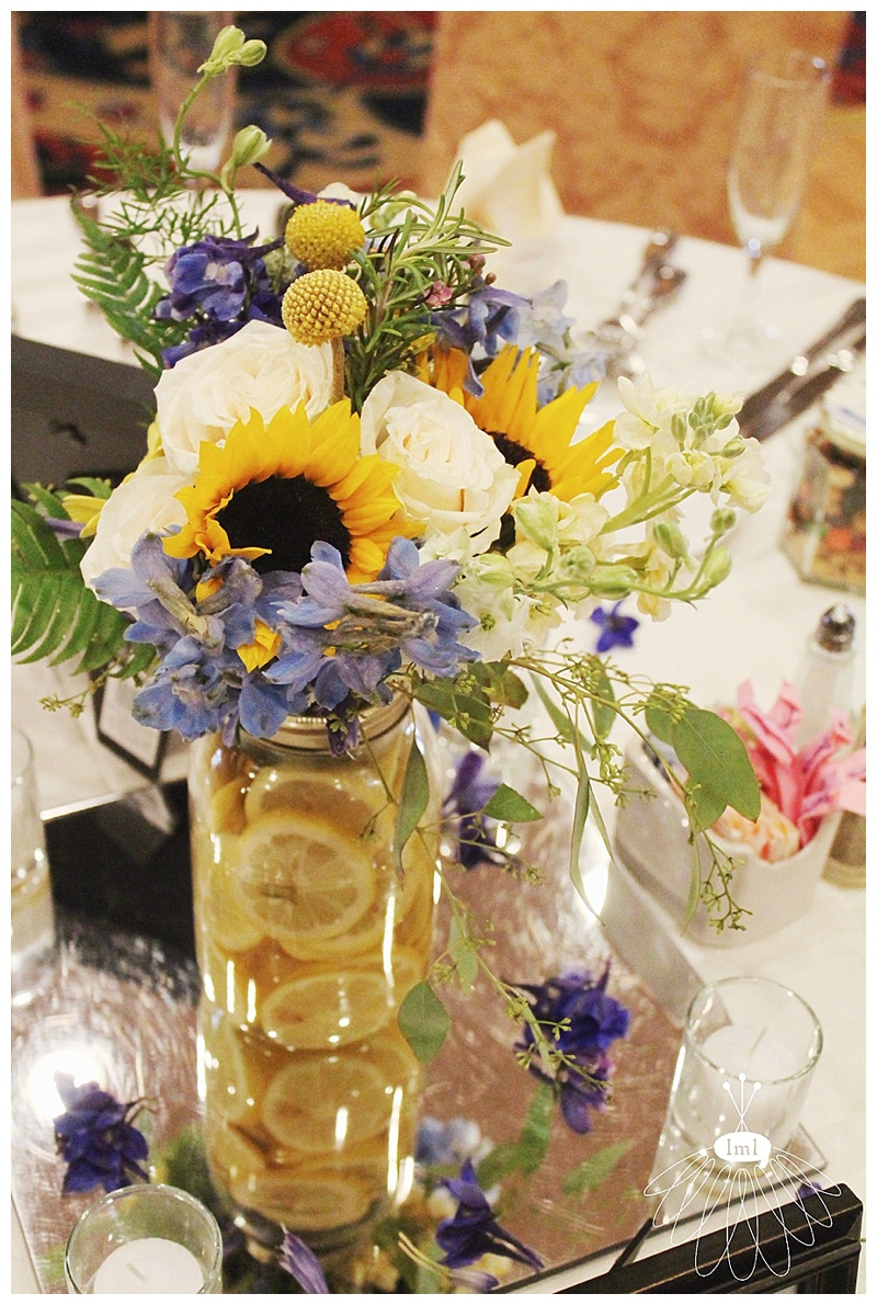 little miss lovely // baltimore md wedding florist // yellow and blue flower arrangements