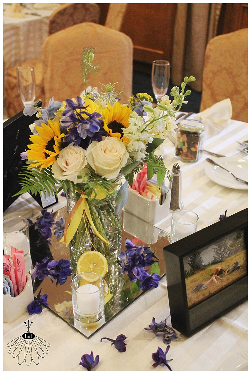little miss lovely // ocean city md wedding florist // yellow and blue lemon centerpieces