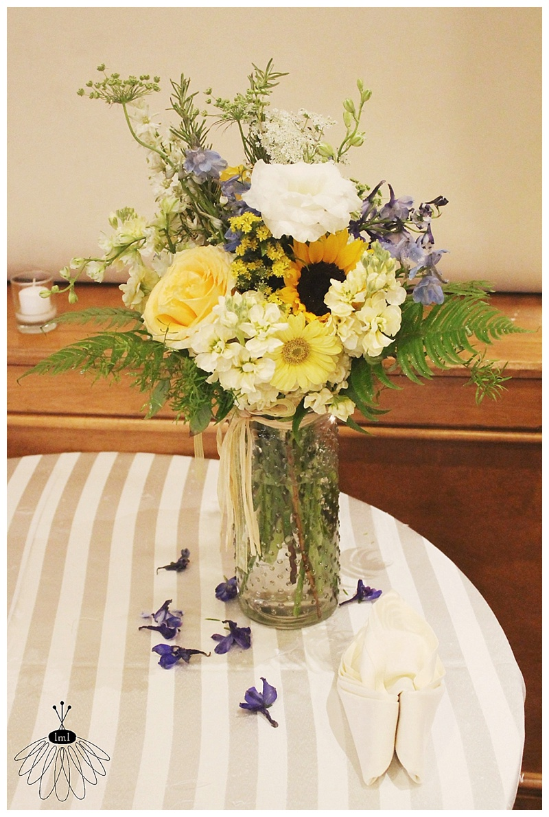 little miss lovely // eastern shore md wedding florist // blue and yellow wedding flowers