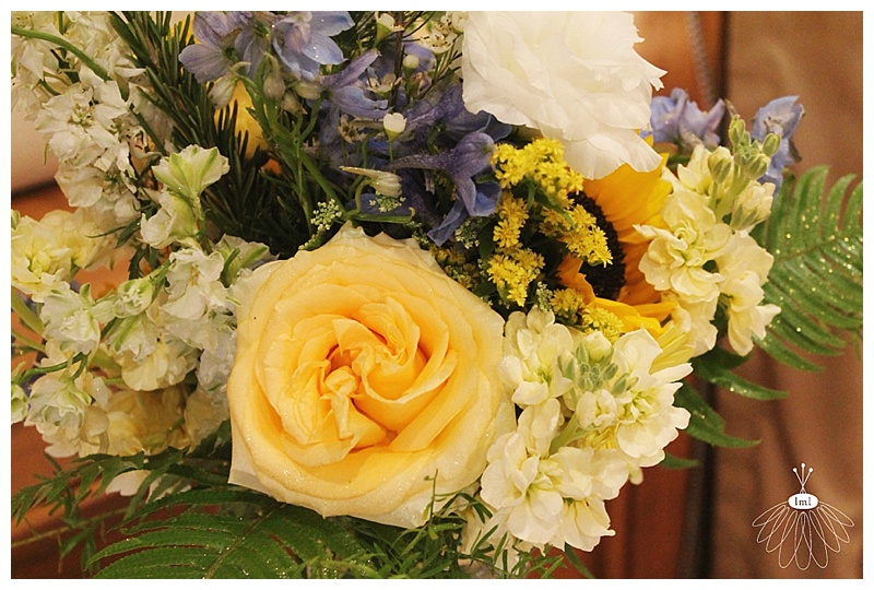 little miss lovely // ocean city md wedding florist // yellow and blue flower centerpieces