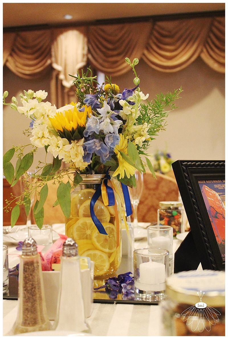 little miss lovely // ocean city md wedding florist // lemon slice centerpieces