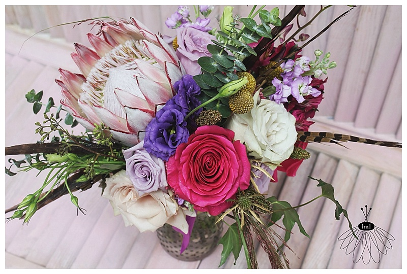 little miss lovely // ocean city md wedding florist // pink and purple protea bouquet // sunset grille wedding