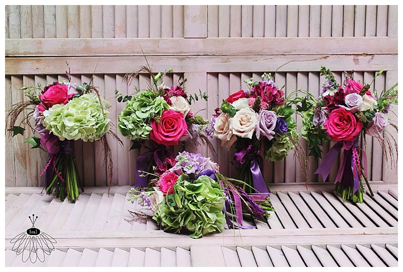 little miss lovely // ocean city md wedding florist // sunset grille wedding // pink purple green wedding bouquets