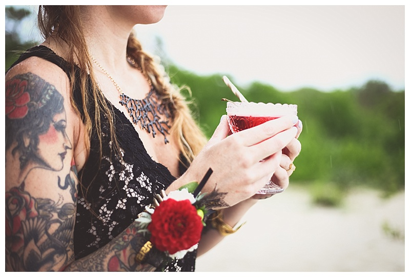 red dahlia wrist corsage // little miss lovely // berlin maryland wedding florist