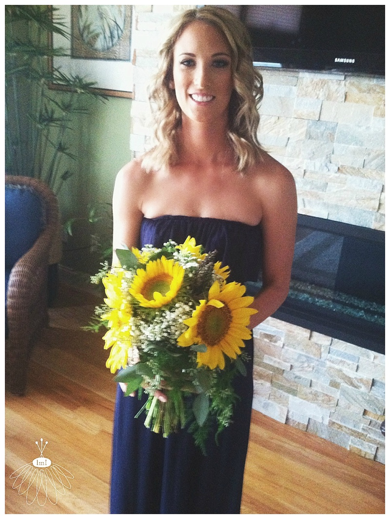 little miss lovely // berlin maryland wedding florist // sunflower and babys breath wedding bouquet