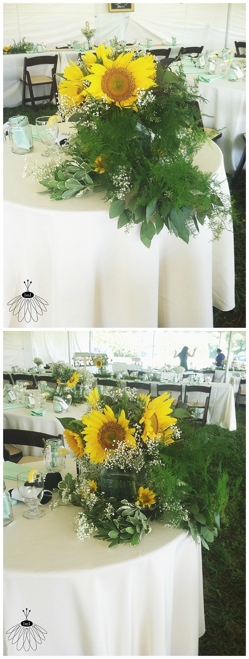 little miss lovely // ocean city md wedding florist // mint burlap sunflower wedding