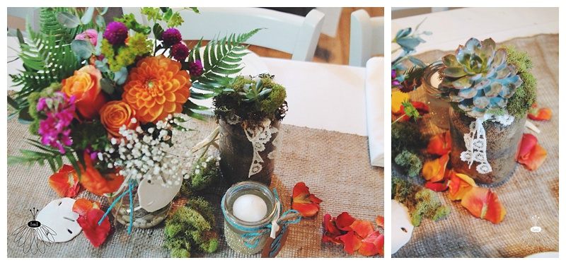 little miss lovely // colorful succulent and moss centerpieces