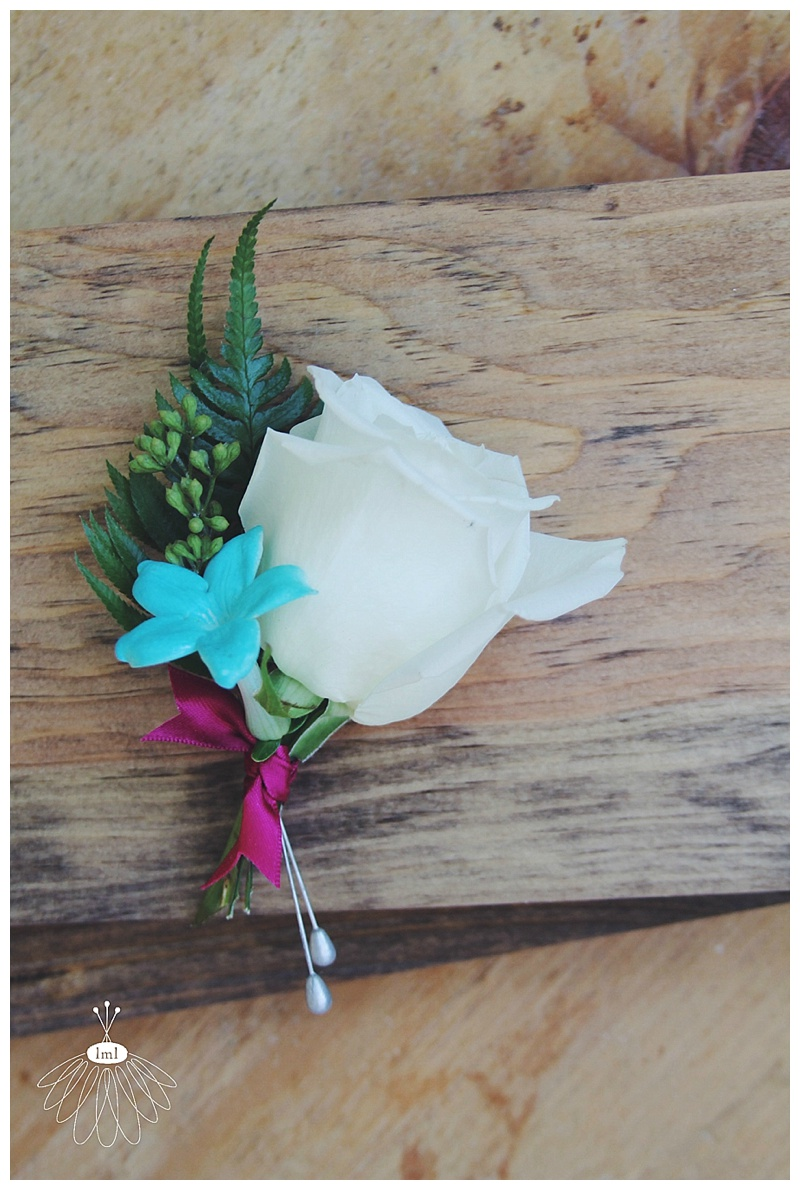 Little Miss Lovely // Teal white fuchsia boutonniere