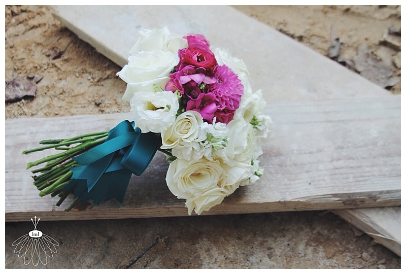 Little Miss Lovely // White pink fuchsia teal bridal bouquet