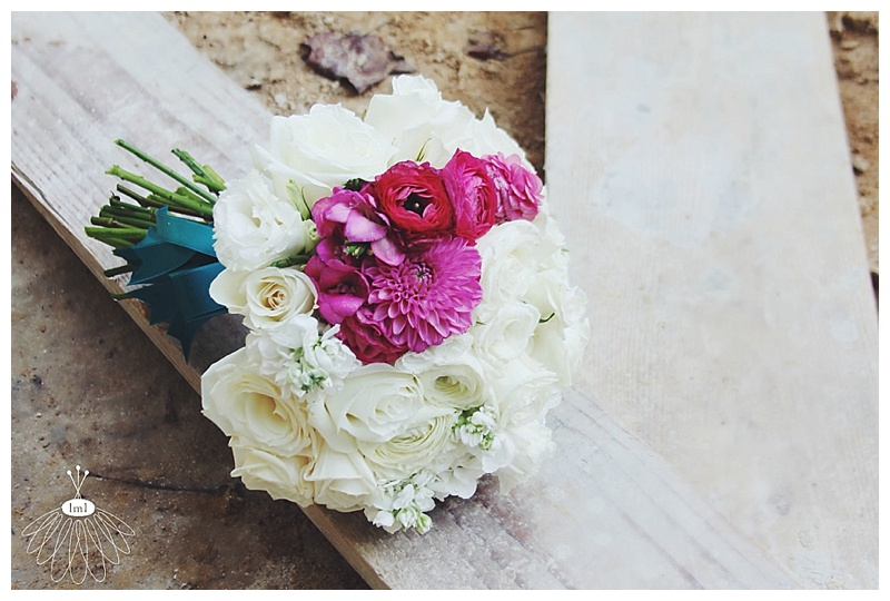 Little Miss Lovely // Ocean City MD wedding florist white and fuchsia wedding bouquet