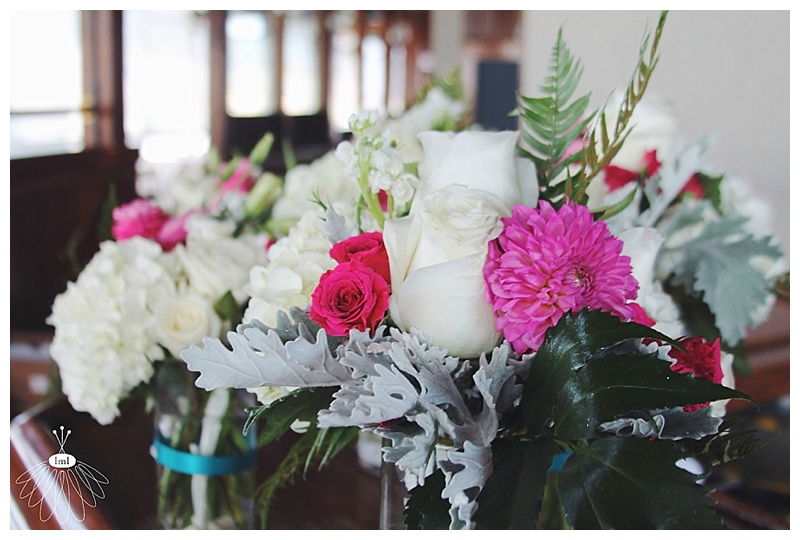 Little Miss Lovely // Pink, white, teal wedding centerpieces