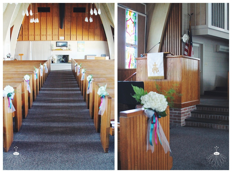 Little Miss Lovely // Church Wedding Pew Hydrangea bows