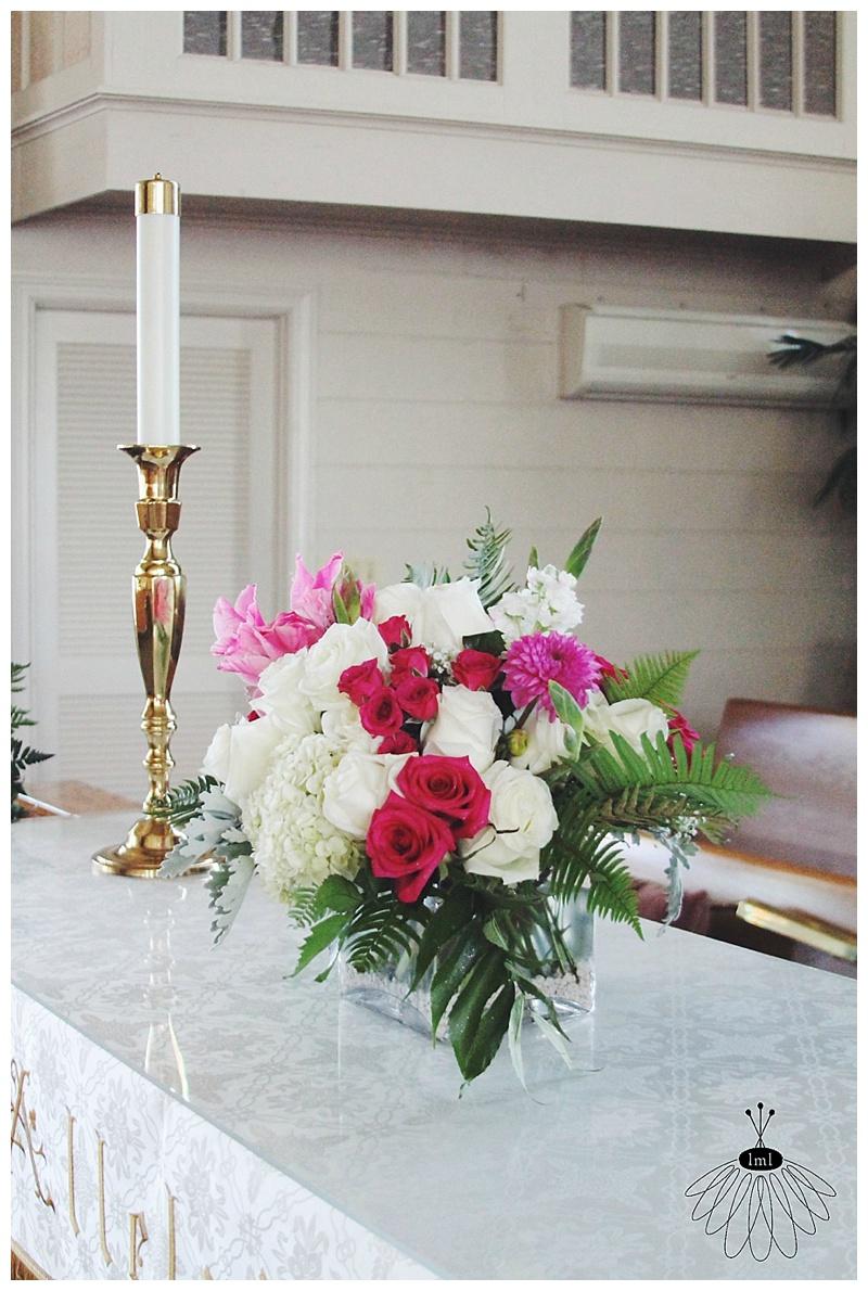 Little Miss Lovely // First Presbyterian Church Wedding Ocean City Maryland alter arrangement