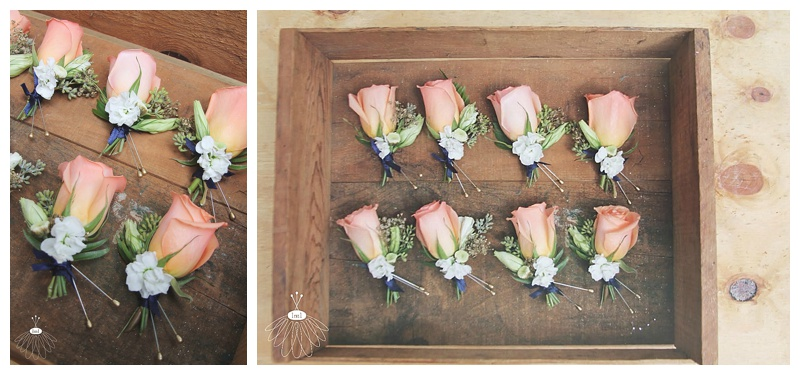 little miss lovely // peach and navy wedding boutonnieres
