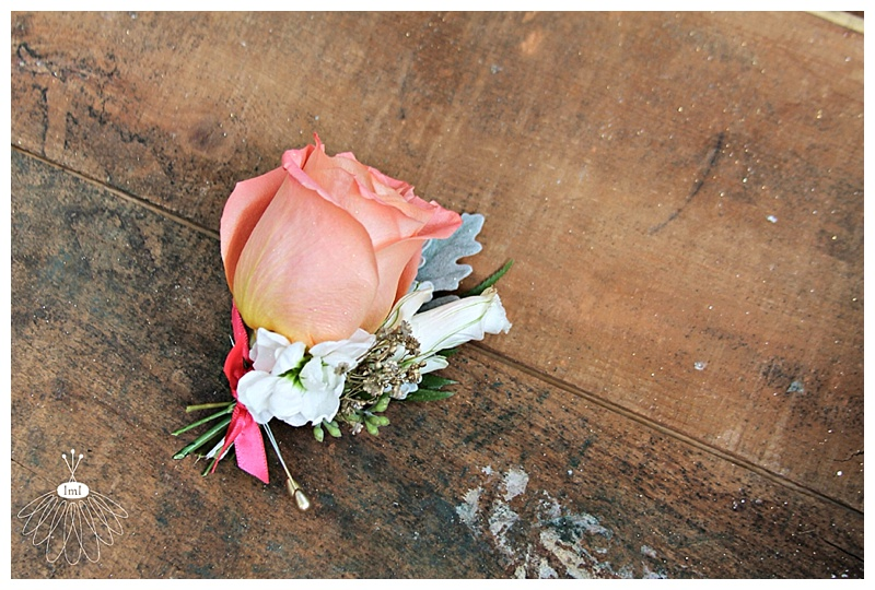 little miss lovely // grooms boutonniere peach rose coral accent