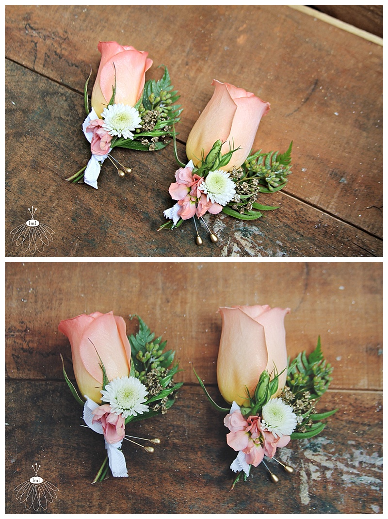 little miss lovely // peach and white wedding boutonnieres