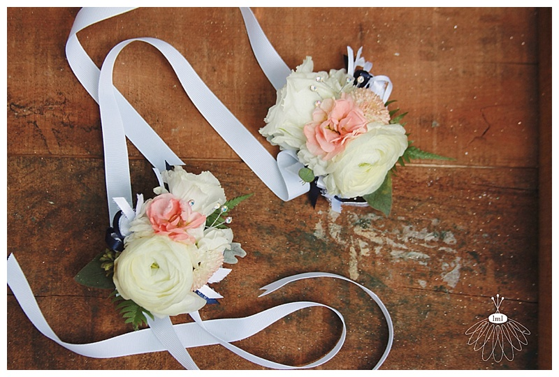 little miss lovely // ocean city florist white coral navy wrist corsage
