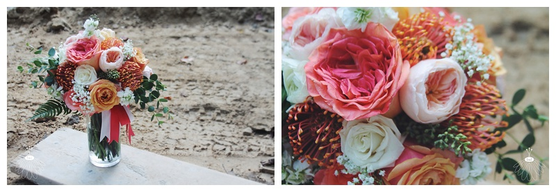little miss lovely // coral peach navy white bridal bouquet garden roses and pincushions