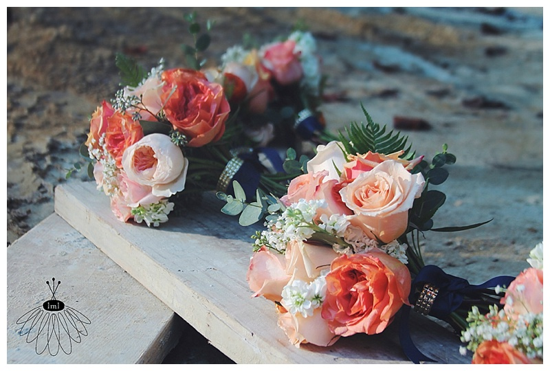 little miss lovely // navy coral peach gold wedding bouquets rehoboth