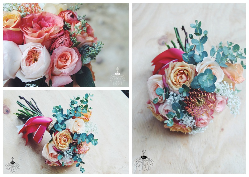 little miss lovely // toss bouquet coral and eucalyptus