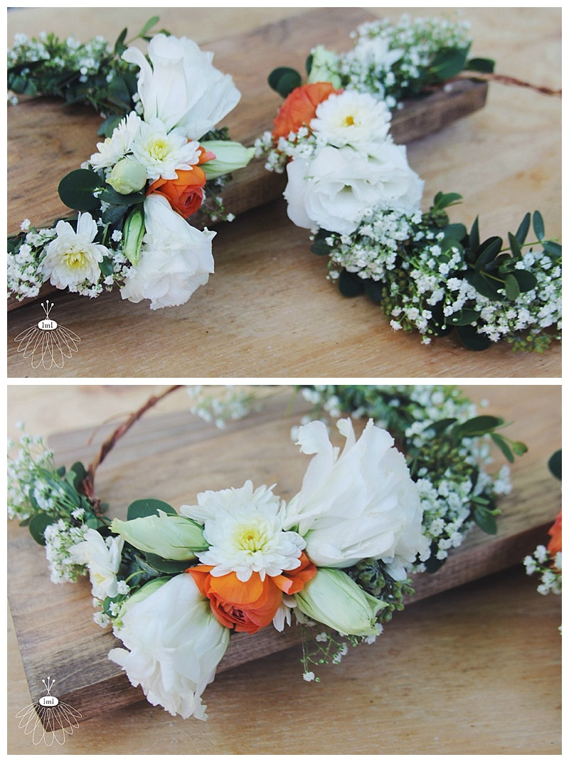 little miss lovely // babys breath and coral ranunculus flower crowns