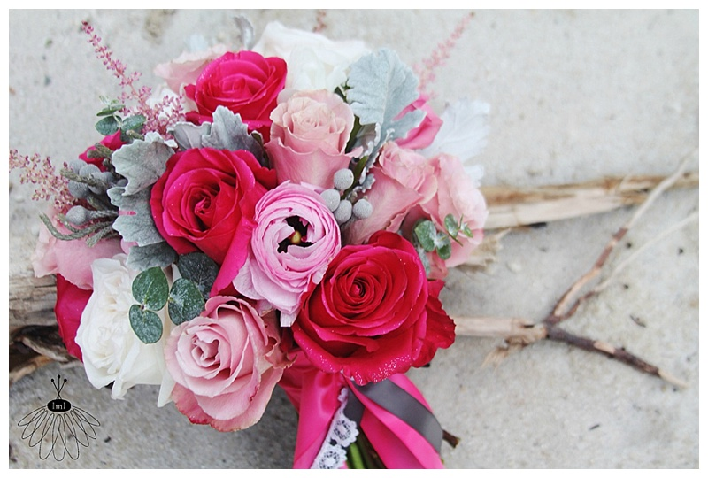 little miss lovely // ocean city wedding florist pink white grey bouquet