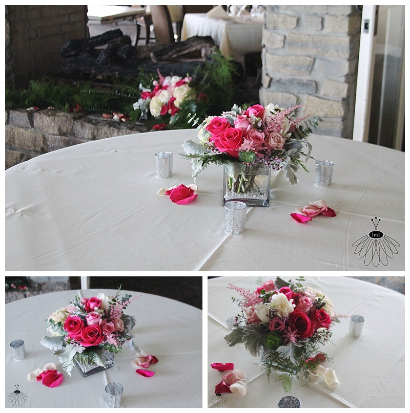 little miss lovely // ocean city maryland wedding florist white pink grey centerpiece