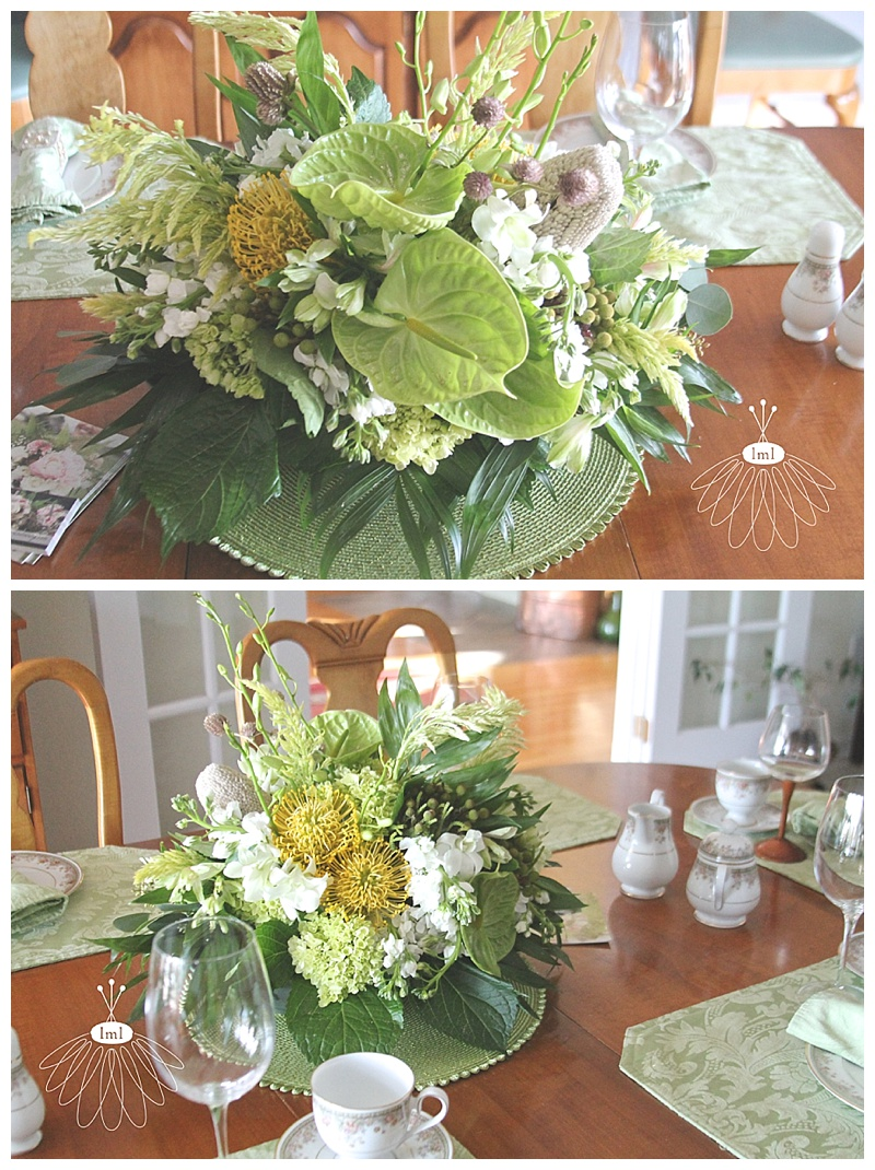 little miss lovely // art league sandcastle home tour ocean city dining room centerpiece green white yellow