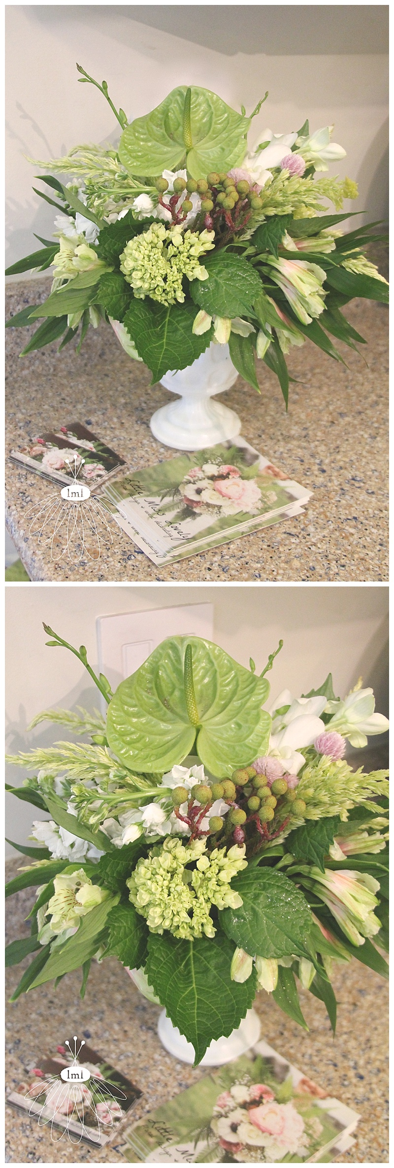little miss lovely // ocean city art league sandcastle home tour kitchen flower arrangement