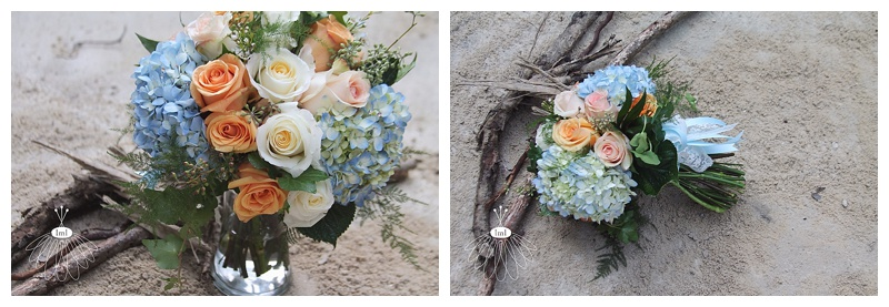 little miss lovely // ocean city wedding florist blue hydrangea peach rose bouquet