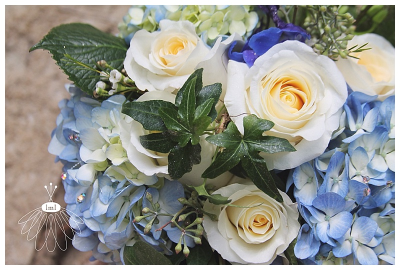 little miss lovely // blue hydrangea white rose bouquet ocean city