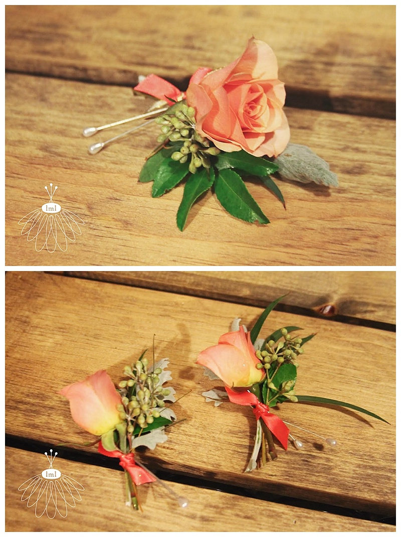little miss lovely // ocean city maryland wedding florist // boutonnieres coral rose