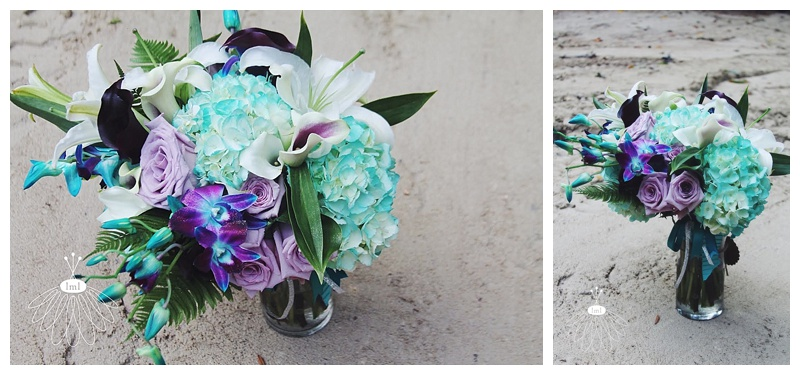 little miss lovely // ocean city wedding florist teal turquoise and purple wedding bouquet