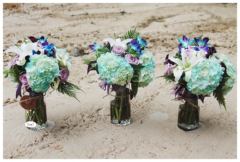 little miss lovely // ocean city wedding florist teal turquoise and purple wedding bouquets