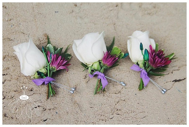 little miss lovely // ocean city wedding florist teal turquoise and purple boutonniere