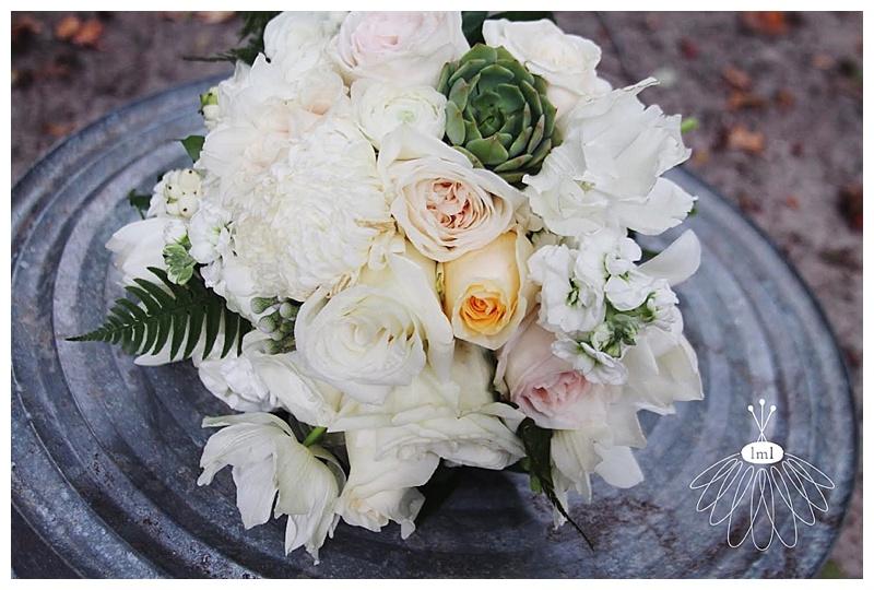 little miss lovely // ocean city wedding florist white cream blush bouquet with succulents