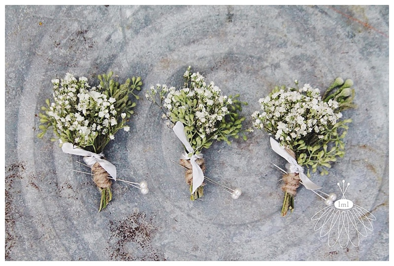 little miss lovely // ocean city maryland wedding florist babys breath boutonnieres