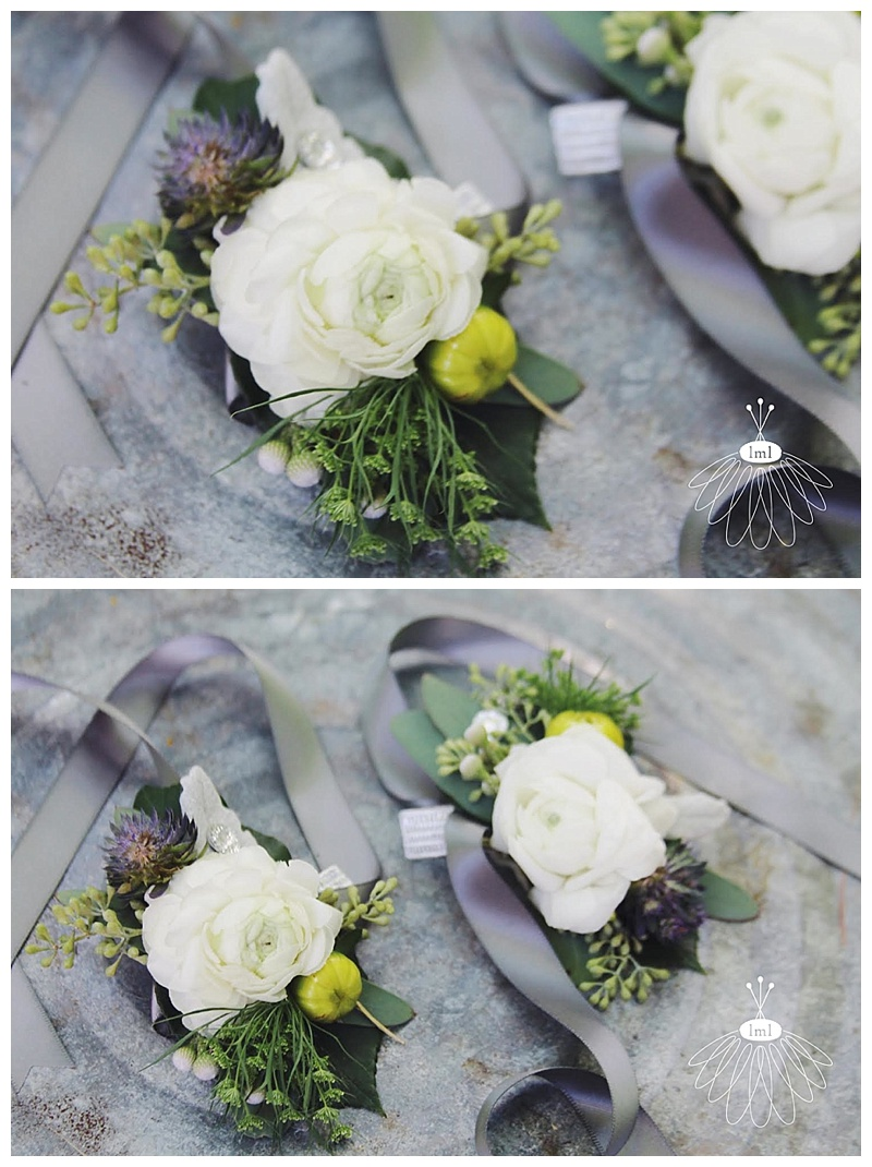 little miss lovely // berlin maryland wedding florist white ranunculus wrist corsage