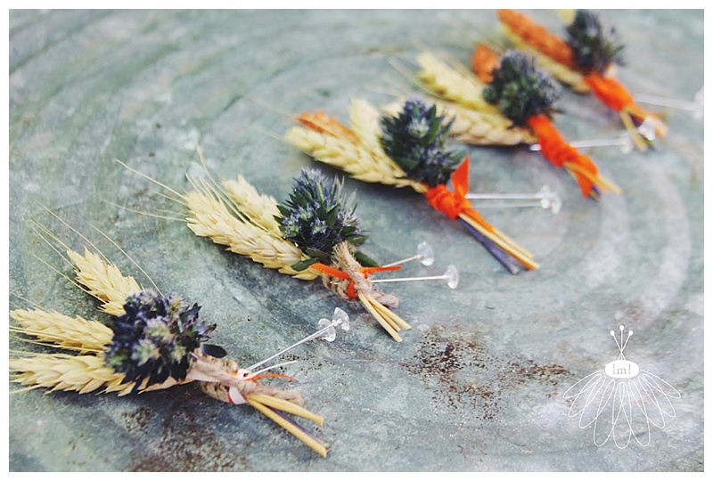 little miss lovely // salisbury md wedding florist wheat thistle boutonnieres