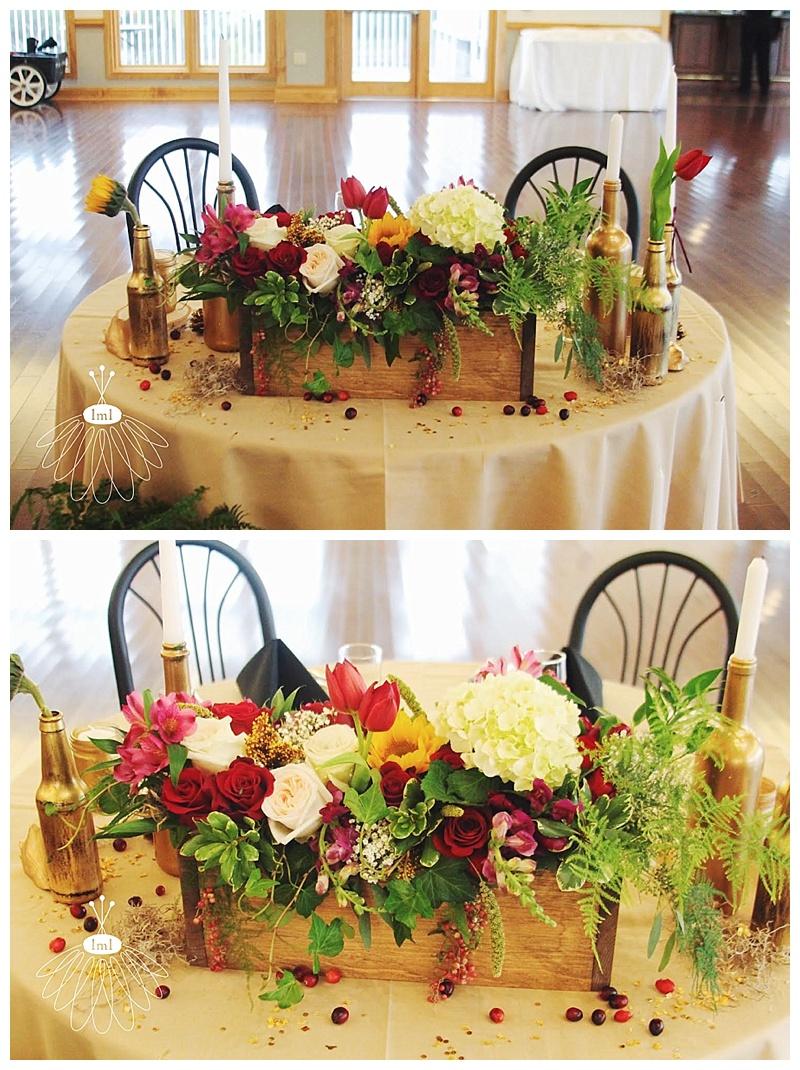 little miss lovely // berlin maryland wedding florist wooden box centerpiece