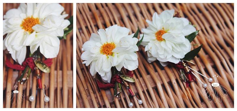 little miss lovely // white dahlia groomsmen boutonnieres