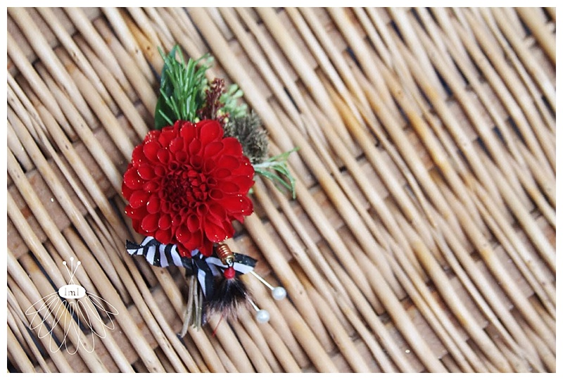 little miss lovely // berlin MD wedding florist red dahlia groom boutonniere