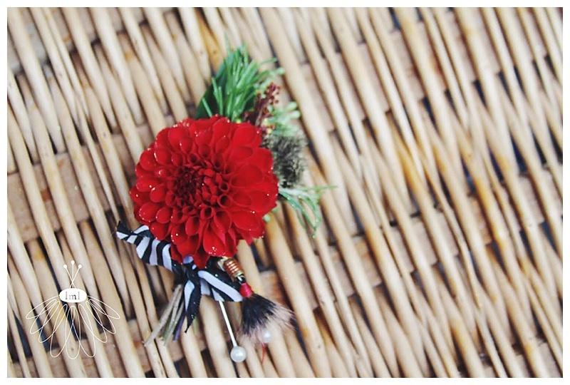 little miss lovely // berlin MD wedding florist red dahlia groom boutonniere