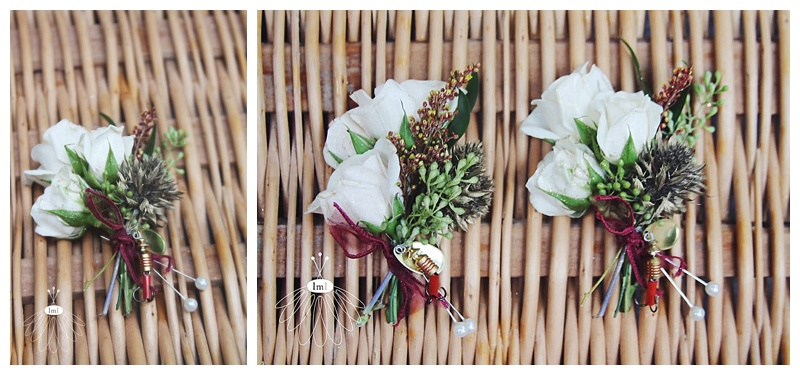 little miss lovely // ivory father boutonnieres with fish hooks